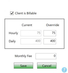 ChronoBeans Billing Rate Override screen - client rate options