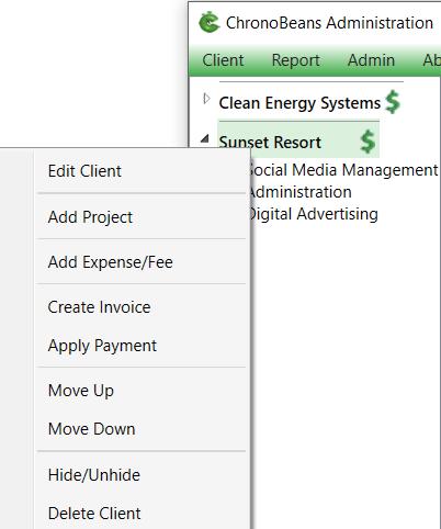 ChronoBeans client sub menu