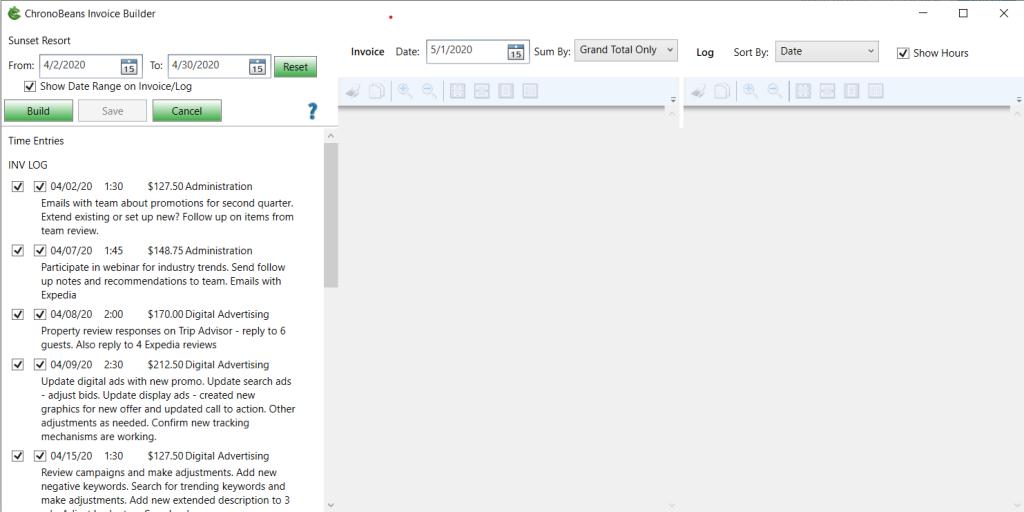 Invoice Builder screen