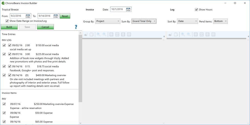 ChronoBeans Invoice Builder controls