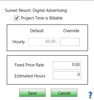 ChronoBeans Project Rate Override screen