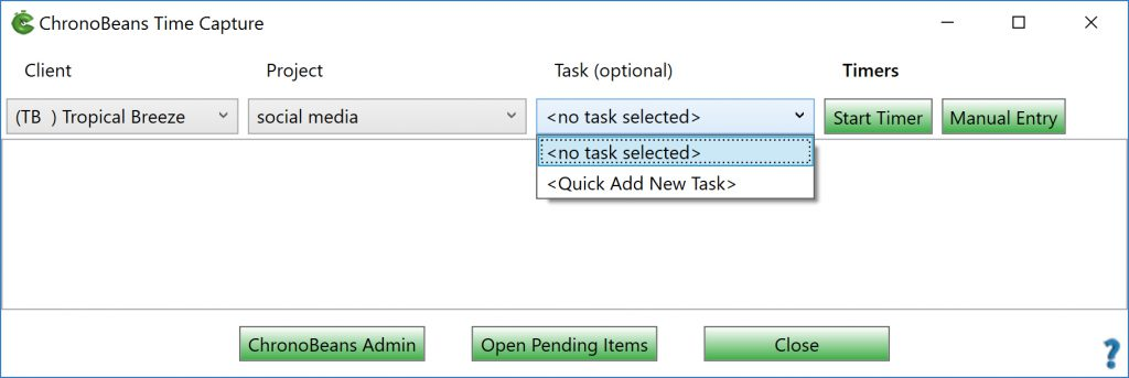 ChronoBeans task quick add from Timer window