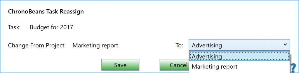 ChronoBeans task reassign screen