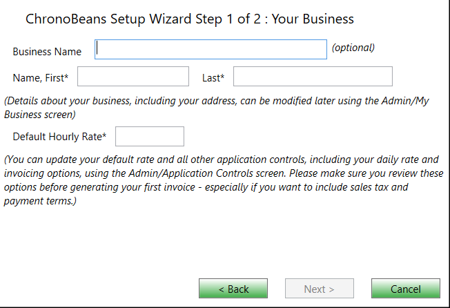 chronobeans wizard step 1 of 2